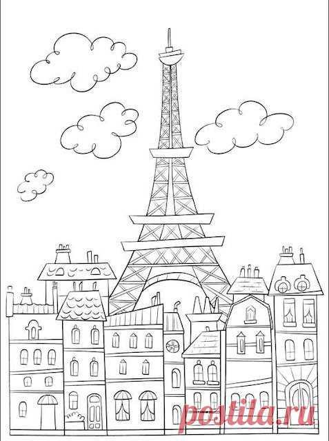 Сложные раскраски для взрослых по теме Город