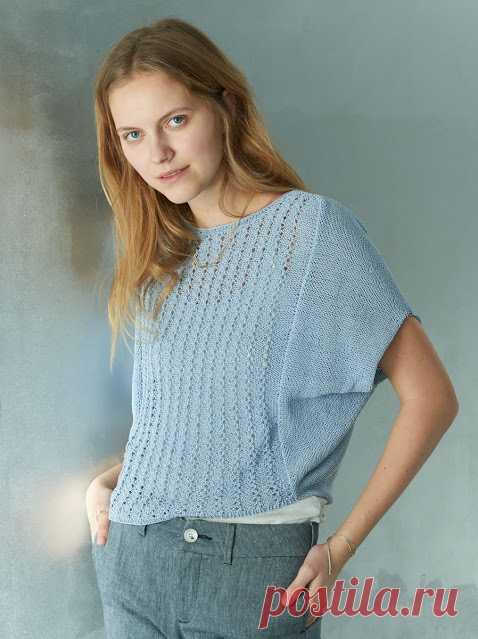 Котейкины хотелки;): Стильный пуловер-кимоно с ажурным узором. Вязание спицами.