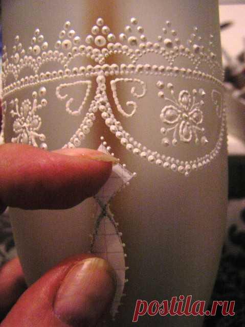 Кружевные бутылки _ Точечная роспиь по шаблону _ МК