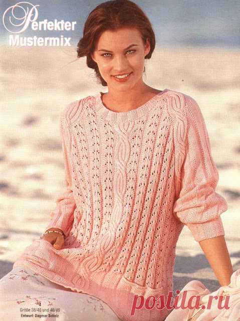Шикарный пуловер спицами. Микс узоров.