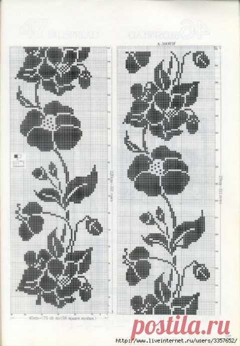 Схема и картинка дорожки с розами. из категории Интересные идеи – Вязаные идеи, идеи для вязания
