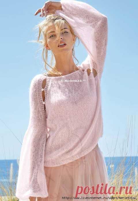 Вязание спицами. Мохеровый пуловер реглан цвета пудры