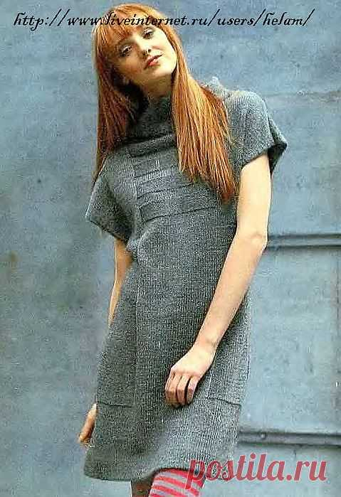 Платье-туника с воротником-стойкой из Phildar.