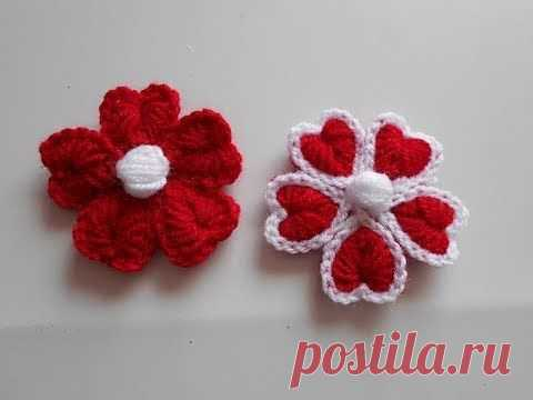 como hacer flor a crochet para san valentin / how to make crochet flower - YouTube