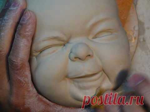 Лепка лица младенца. Полимерная глина. Используя молд лепим эмоции.