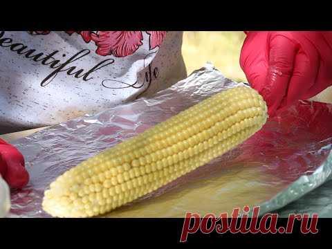 Вкусные рецепты. КУКУРУЗА на УГЛЯХ / КАМБАЛА на УГЛЯХ. Рецепт рыбы и кукурузы со сливочным маслом.