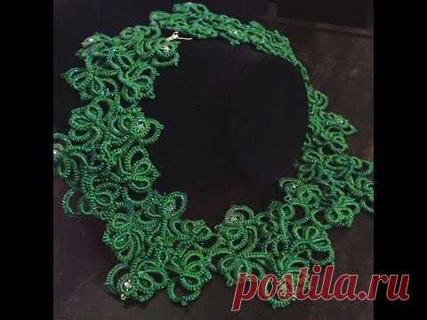 I love green necklace (Tatting,Frivolité, Orecchini, Фриволите,Encaje, 梭織)