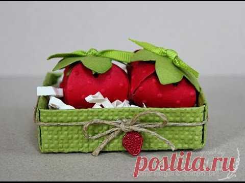 Strawberry box - candy box - gift box. Easy - NO TEMPLATES
