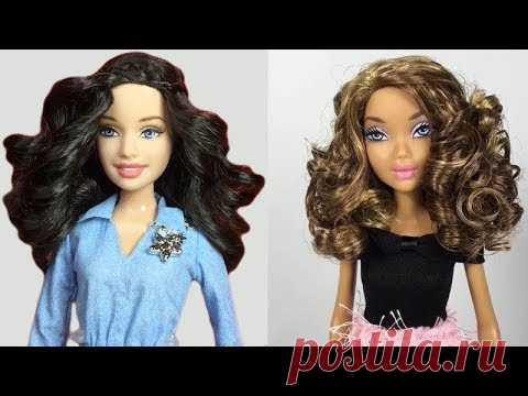 Barbie Hair 👰 How to Curl Doll Hair 👰 5 DIY Barbie Hair Reroot and Curly Hair