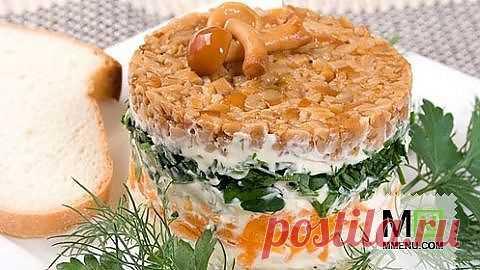 Салат «Грибная поляна» - кулинарный рецепт. Миллион Меню