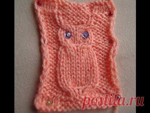 """УЗОР """"СОВА"""". ВЯЗАНИЕ СПИЦАМИ! Вязание для начинающих.knitting"""