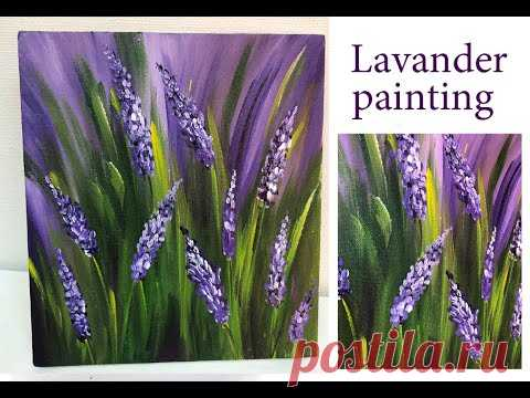 How to paint lavender field Demonstration /Acrylic Technique on canvas by Julia Kotenko - YouTube