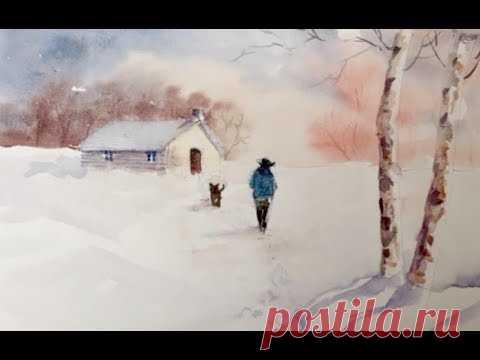 Зимний пейзаж. Лимитированная палитра. Акварель.  Simple winter scene. Limited palette.
