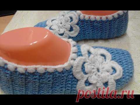 SLEDKI POR EL GANCHO \/ MÁS FÁCIL\/MAESTRO КЛАСС\/slippers crocheted