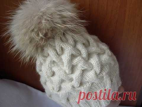 """Knitting of a cap spokes a pattern """"коса with тенью"""""""