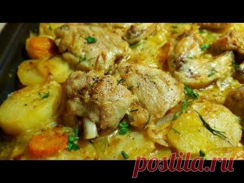 The Gipsy cooks meat with potato and mayonnaise in an oven. Potatoes with meat, easily! Gipsy cuisine.
