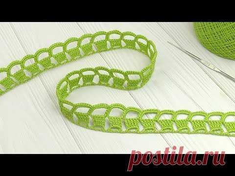 Очень простое ЛЕНТОЧНОЕ КРУЖЕВО вязание крючком ТЕСЬМА мастер-класс для начинающих crochet ribbon