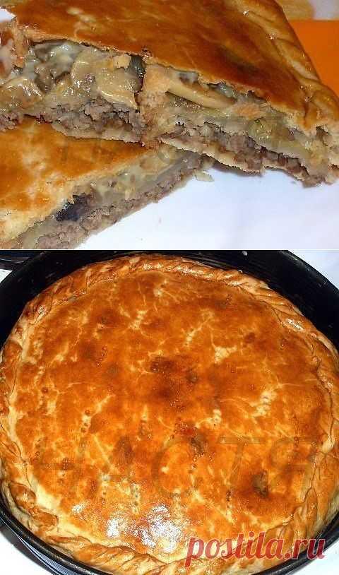Пирог с мясом и грибами из пивного теста.