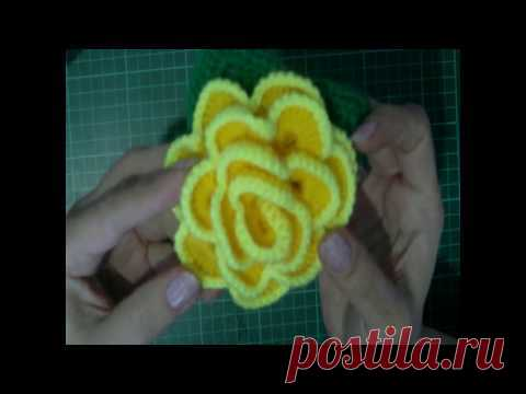 3 D rose knitting by a hook