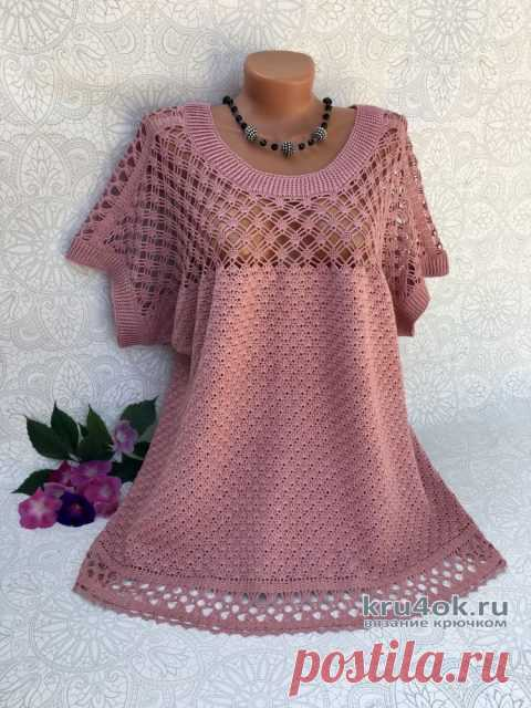 Женская блузка крючком. Работа Светланы svetlano4ka_vyazalo4ka