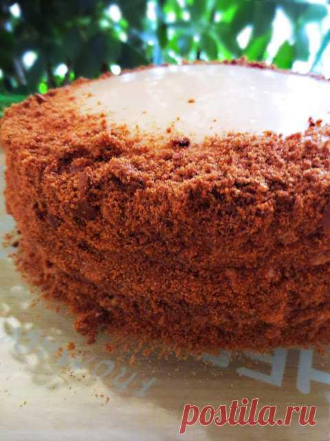 """""""Спартак"""" cake; with scalded caramel cream."""