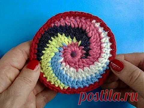 ▶ Knitting by a hook the Lesson 246 Circle a spiral of Spiral crochet circle motif - YouTube