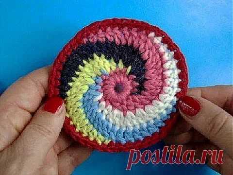 ▶ Вязание крючком Урок 246 Круг спираль Spiral crochet circle motif - YouTube