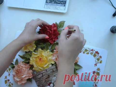 Розы из фоамирана в кашпо часть 2