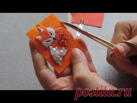 брошь Лисичка МК ч.4 для начинающих   вышивка бисером