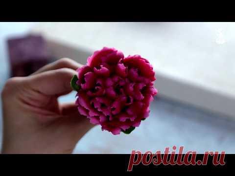 Пион с кружевной серединкой из фасолевой пасты bean paste flowers