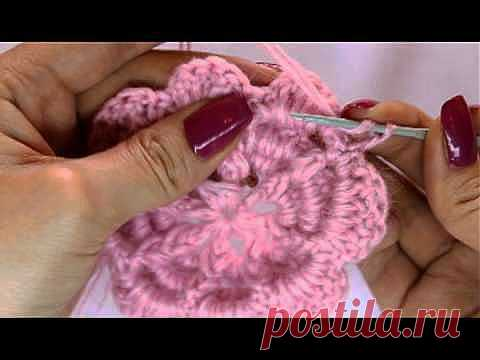 Вяжем крючком - объемный цветок/Knit Crochet - surround flower - YouTube