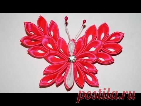 Kanzasha's butterfly of Master class \/ DIY kanzashi - YouTube