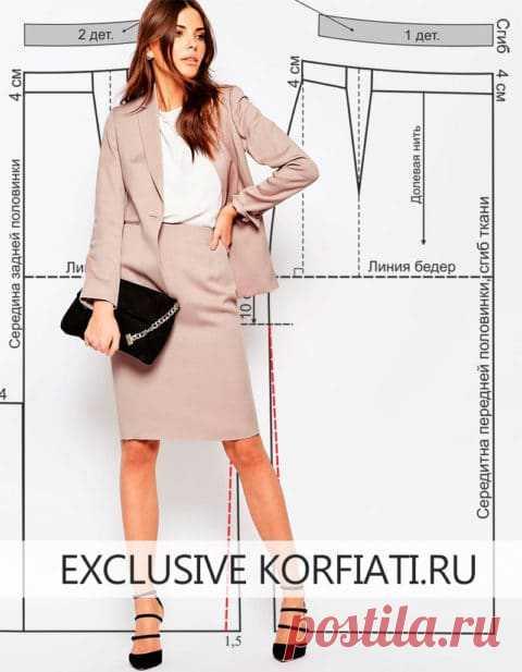 Выкройка юбки с цельнокроеным поясом от А. Корфиати