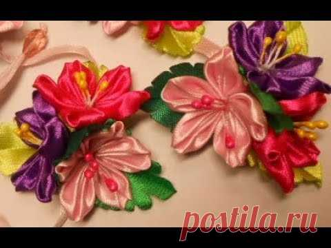 Лента в косу МК/DIY Flowers for a ribbon in a braid#39