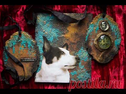 DIY Rust Pastes and Patina Mixes Mixed Media Canvas Background