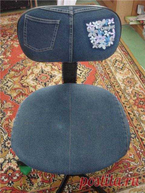 чехол на стул из старых джинсов