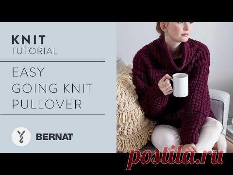 Knit Easy Going Knit Pullover in Bernat Roving by Kristen Mangus