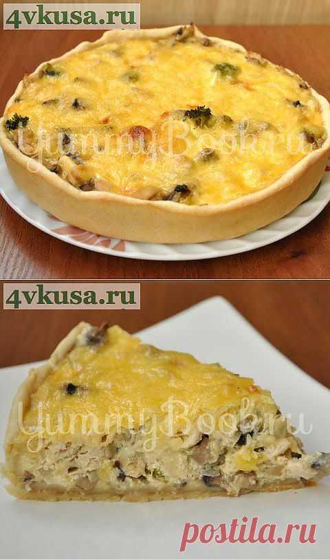Лоранский пирог с грибами и курицей | 4vkusa.ru