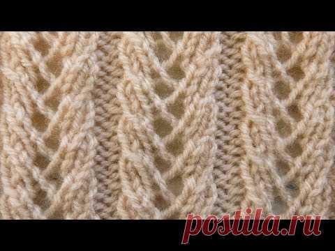 Узоры спицами -   ажурный узор Колоски
