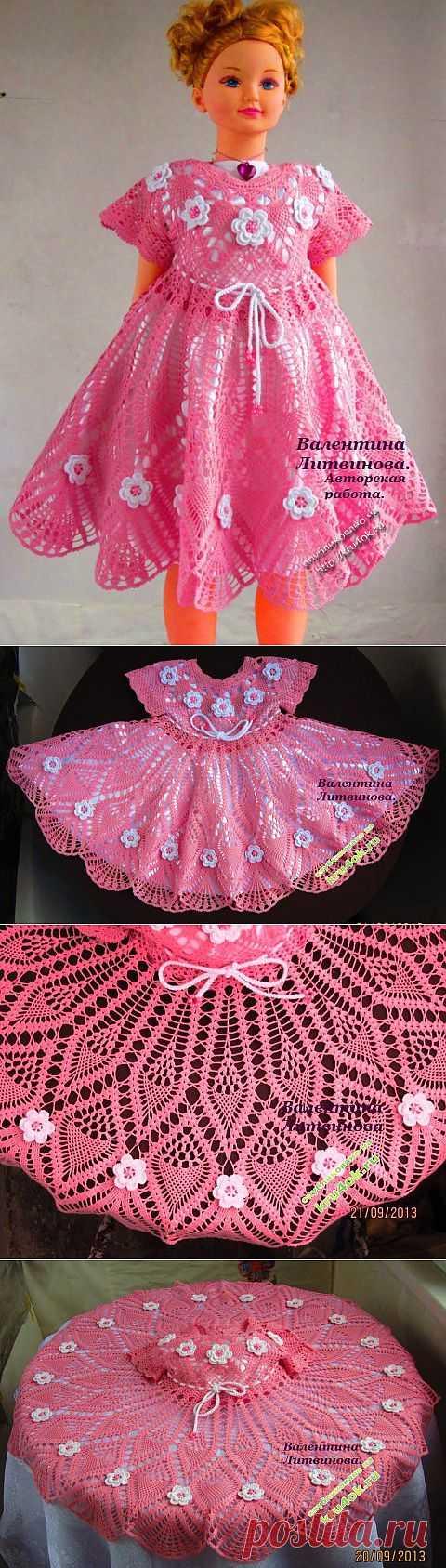 Авторское платье для девочки связанное крючком со схемами - вязание крючком на kru4ok.ru