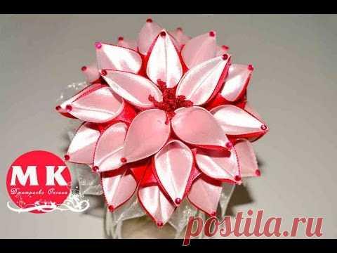 Kanzasha's master class. Flowers from tapes. An elastic band for hair. Dahlia of Kanzashi\/Scrunchy. Dahlia Kanzashi