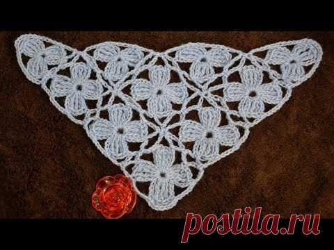 Безотрывное вязание шали из цветочных мотивов. Shawl