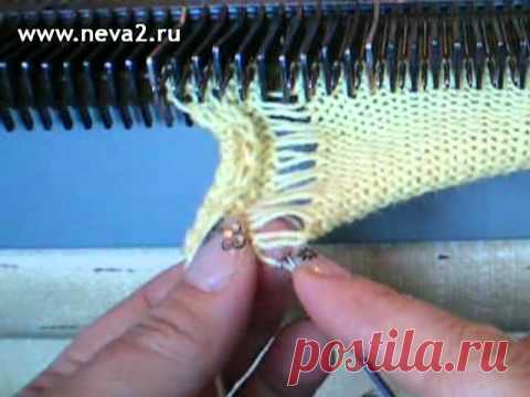 How to knit the English elastic band by knitting car.