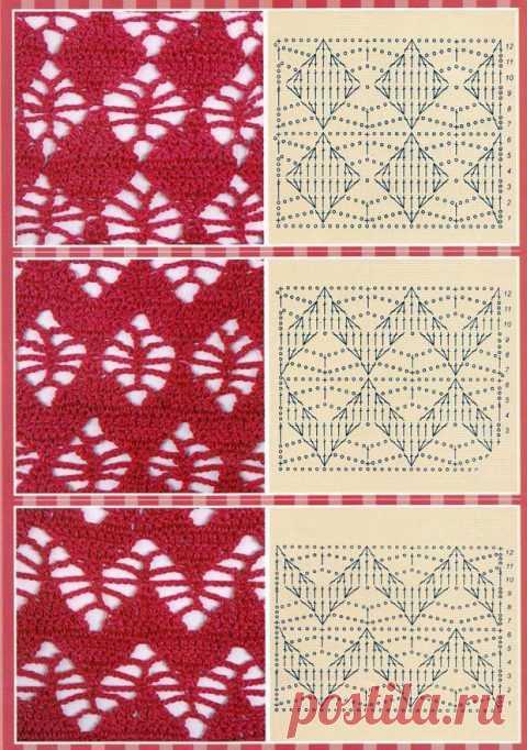 Узор ромбы и ромбики крючком больше 70 схем дал вязания