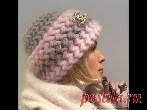 Как связать модную объемную шапку крючком