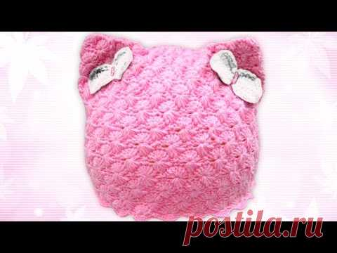 шапка кошка с кошачьими ушками вязание крючком Youtube