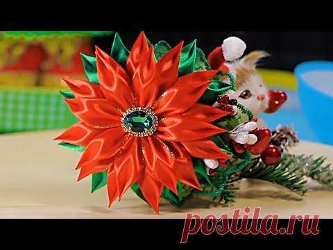 Новогодняя заколка из лент. Канзаши Новый год. Мария Калугина.