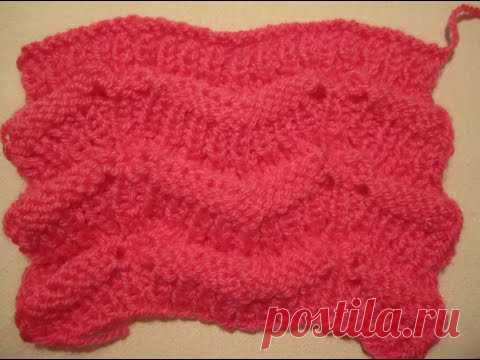 ВЯЗАНИЕ СПИЦАМИ!УЗОР ВОЛНЫ!Красивый не сложный узор.Вязание для начинающих.knitting