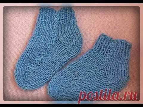 необычный способ вязания детских носков на двух спицах вязание