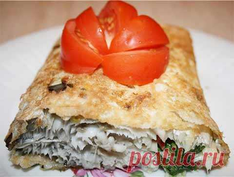 The fish baked in an unleavened wheat cake